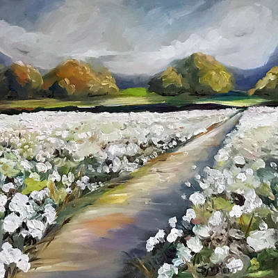 Cotton Field Painting - Land Of Cotton by Mary Sparrow