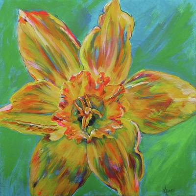 Daffodils Painting - Land Of My Mother by Karin McCombe Jones