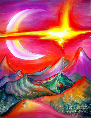 Planet Fantastic Painting - Land Of Red Lightnings by Sofia Metal Queen
