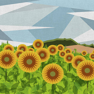 Digital Sunflower Digital Art - Land Of Sunflowers. by Absentis Designs