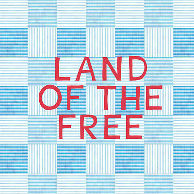 Blue And Red Painting - Land Of The Free by Linda Woods