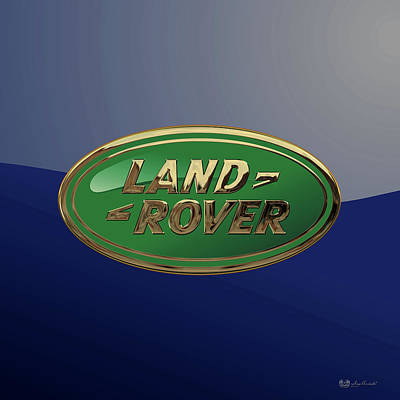 Digital Art - Land Rover 3 D Badge Special Edition On Blue by Serge Averbukh