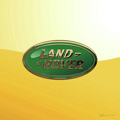 Digital Art - Land Rover 3 D Badge Special Edition On Yellow by Serge Averbukh