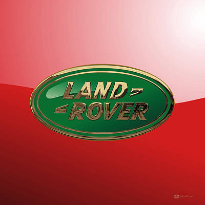 Digital Art - Land Rover - 3d Badge On Red by Serge Averbukh