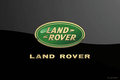 Digital Art - Land Rover Badge - Luxury Edition On Black by Serge Averbukh