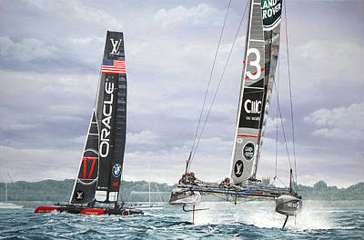 Painting - Land Rover Bar And Oracle Team Usa Louis Vuitton America's Cup World Series, Portsmouth 2016 by Mark Woollacott