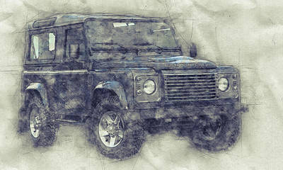 Mixed Media - Land Rover Defender 1 - Land Rover Ninety - Land Rover One Ten - Automotive Art - Car Posters by Studio Grafiikka