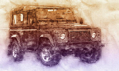 Mixed Media - Land Rover Defender 2 - Land Rover Ninety - Land Rover One Ten - Automotive Art - Car Posters by Studio Grafiikka