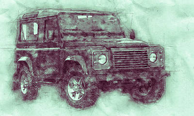 Mixed Media - Land Rover Defender 3 - Land Rover Ninety - Land Rover One Ten - Automotive Art - Car Posters by Studio Grafiikka