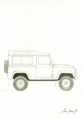 Poster Painting - Land Rover Defender by Juan Bosco