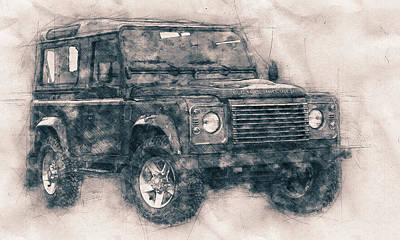 Mixed Media - Land Rover Defender - Land Rover Ninety - Land Rover One Ten - Automotive Art - Car Posters by Studio Grafiikka