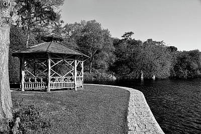Photograph - Landa Park Gazebo Black And White by Judy Vincent