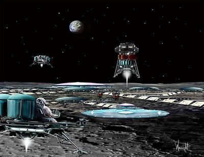 Rocketship Digital Art - Landing At Aristarchus City by Bill Wright