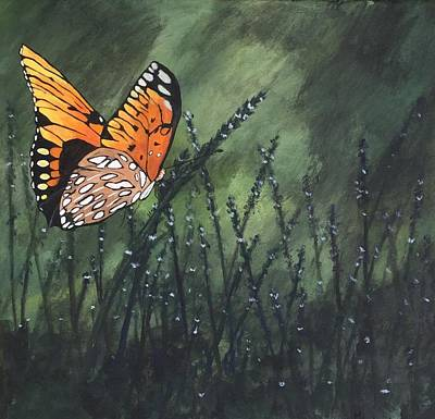 Wall Art - Painting - Landing At Dusk by Mary Arneson