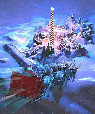 Digital Art - Landing At The North Pole by Dave Luebbert
