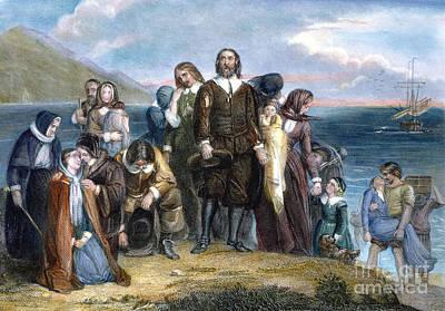 Plymouth Rock Photograph - Landing Of Pilgrims, 1620 by Granger