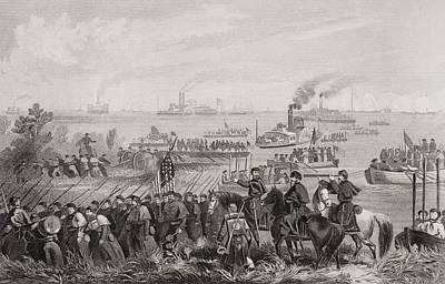 Landing Of Troops On Roanoke Island Print by Vintage Design Pics