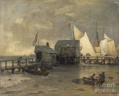Landing Stage With Sailing Ships Art Print by MotionAge Designs