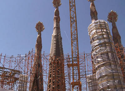 Rights Managed Images Photograph - Landmark Photography Of Sagrada Temple Barcelona  Under Construction Since 1886 Artwork By Navinjosh by Navin Joshi