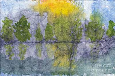 Painting - Landscape Reflection Abstraction On Masa Paper by Conni Schaftenaar