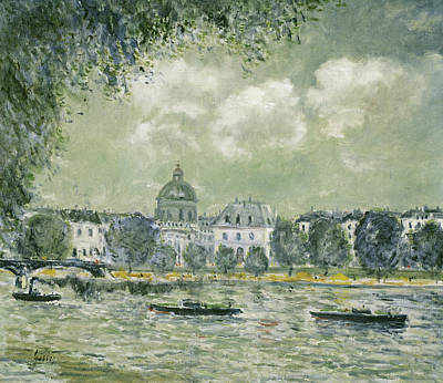 Seine River Wall Art - Painting - Landscape Along The Seine With The Institut De France And The Pont Des Arts by Alfred Sisley