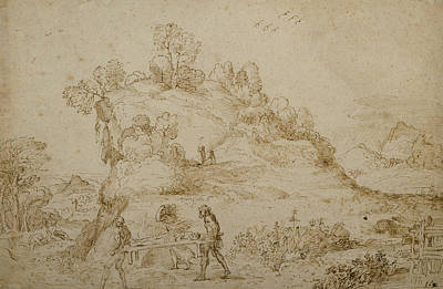 Drawing - Landscape And Figures by Annibale Carracci