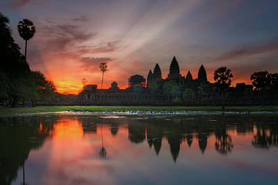 Photograph - Landscape And Sunrise Of Angkor Wat Temple In Siem Reap In Combo by Anek Suwannaphoom