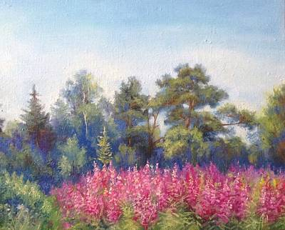 Meadow Willows Painting - Landscape by Anna Shurakova