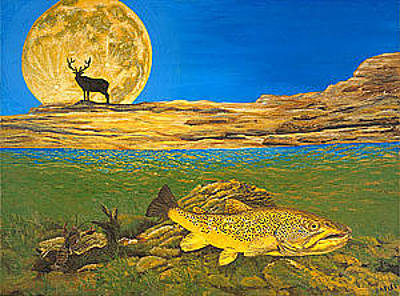 Trout Painting - Landscape Art Fish Art Brown Trout Timing Bull Elk Full Moon Nature Contemporary Modern Decor by Baslee Troutman