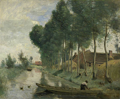 Cloudy Painting - Landscape At Arleux-du-nord by Camille Corot