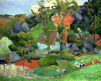 Painting - Landscape At Pont Aven by Paul Gauguin