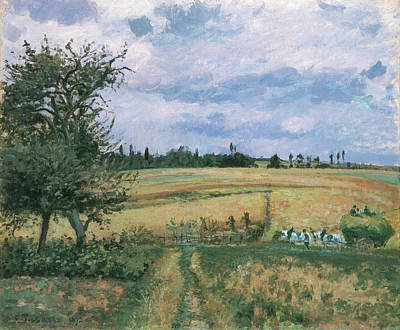 Wagon Painting - Landscape At Pontoise by Camille Pissarro