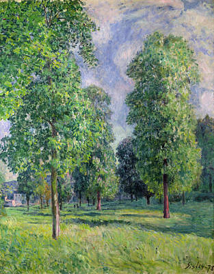 Cloudy Painting - Landscape At Sevres by Alfred Sisley
