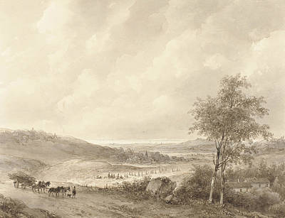 Landscape Drawing - Landscape Between Calais And Boulogne by Andreas Schelfhout