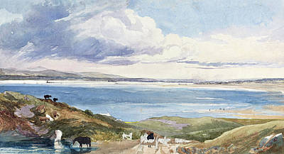 Painting -  Landscape By The Shore With Road In Foreground by James Bulwer