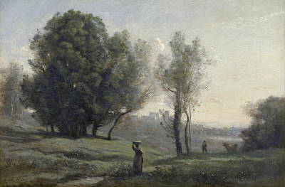 Outlook Painting - Landscape by Camille Corot