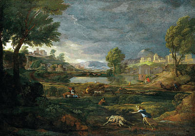 Nicolas Poussin Painting - Landscape During A Thunderstorm With Pyramus And Thisbe by Nicolas Poussin