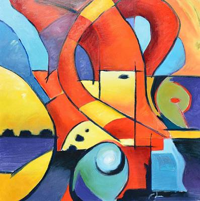 Human Landscape Painting - Landscape Figure Abstract by Gary Coleman