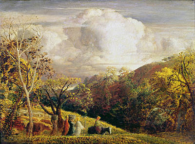 Basket Painting - Landscape Figures And Cattle by Samuel Palmer