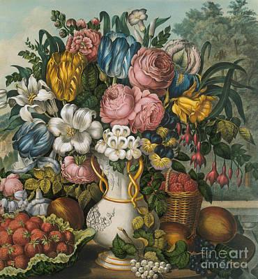 Berries Still Life Painting - Landscape  Fruit And Flowers, 1862  Detail by Frances Flora Bond Palmer