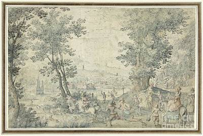 Brussels Painting - Landscape In Brussels With Deer Hunting by Celestial Images