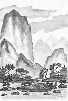 Painting - Landscape In Chinese Style by Irina Afonskaya