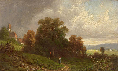 Beautiful Scenery Painting - Landscape In The Loisach-valley by Celestial Images