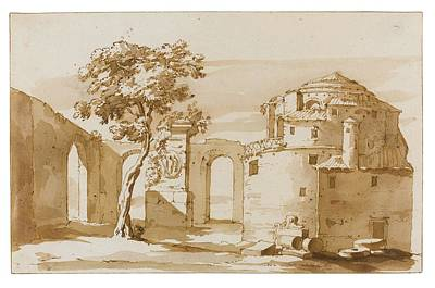 Landscape Painting - Landscape In The Roman Campagna With Classical Architecture And Ruins by MotionAge Designs