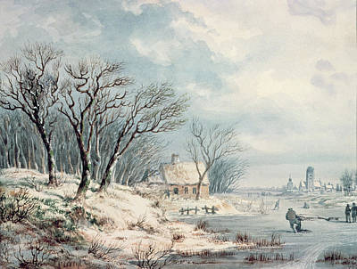 Snow Scene Painting - Landscape In Winter by JJ Verreyt