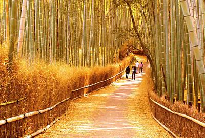 Landscape - Kyoto Arashiyama Bamboo Golden Grove Path Art Print by Arthur Babiarz