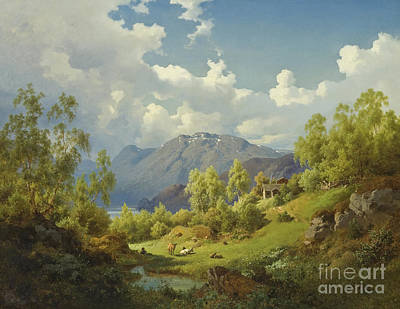 Painting - Landscape, Motif From The Numme Valley In Norway, 1850 by Joachim Frich