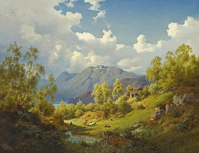Painting - Landscape. Motif From The Numme Valley In Norway by Joachim Frich