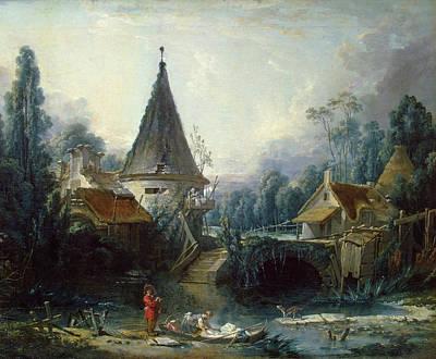 Architectural Painting - Landscape Near Beauvais by Francois Boucher