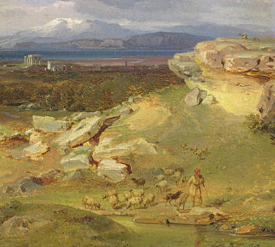 Olympus Painting - Landscape Near Corinth by Carl Rottmann